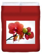 Red Orchid Flowers 02 Duvet Cover