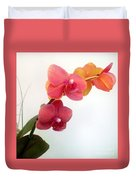 Red Pink Golden Orchid Flowers 03 Duvet Cover