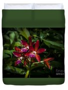 Red Orchids Duvet Cover