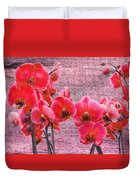 Red Orchids On Linen Zen Duvet Cover
