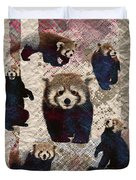 Red Panda Abstract Mixed Media Digital Art Collage Duvet Cover