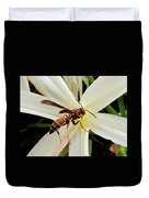 Red Paper Wasp And Spider Lily 001 Duvet Cover