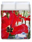 Red Party Flowers IIi Duvet Cover