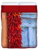 Red Peppers And Blue Door Duvet Cover