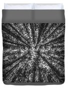 Red Pine Tree Tops In Black And White Duvet Cover