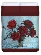 Red Piones Duvet Cover