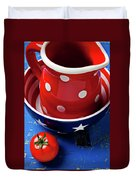 Red Pitcher And Tomato Duvet Cover