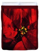 Red Poinsettia Floral Art Duvet Cover