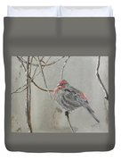 Red Poll In Winter Duvet Cover