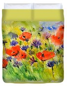 Red Poppies And Cornflowers Duvet Cover