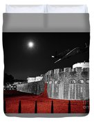 Red Poppies At Tower Of London With Spitfire Flypast Duvet Cover