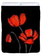 Red Poppies On Black By Sharon Cummings Duvet Cover