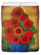 Red Poppies In Blue Vase Duvet Cover
