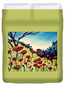 Red Poppies Under A Blue Sky Duvet Cover