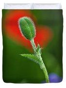 Red Poppy Bud Duvet Cover