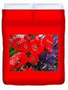 Red Poppy Cluster With Purple Lavender Duvet Cover