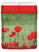 Red Poppy Flower And Green Wheat Nature Spring Scene Duvet Cover
