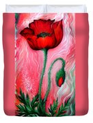 Red Poppy Flower. Pink Sunset Duvet Cover