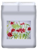 Red Poppy Flowers Duvet Cover