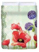 Red Poppy Purple Allium IIi - Retro Modern Patterns Duvet Cover