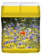 One Red Poppy Amongst The Wildflowers Duvet Cover