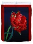 Red Princess Tulip On Blue Duvet Cover