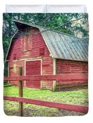 Red Rail Barn Duvet Cover
