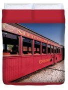 Red Rail Cars Duvet Cover