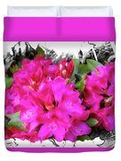Red Rhododendron Flowers Duvet Cover