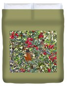 Red Robin And Cedar Waxwing 1 Duvet Cover
