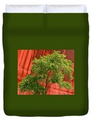 Red Rock Green Tree Duvet Cover