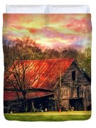 Red Roof At Sunset Duvet Cover