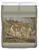 Red Roofs, Corner Of A Village, Winter Duvet Cover