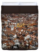 Red Roofs Of Venice Duvet Cover