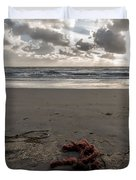 Red Rope On The Beach Duvet Cover