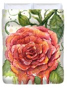 Red Rose Dripping Watercolor  Duvet Cover