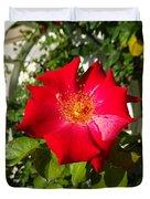 Red Rose In Summer Duvet Cover