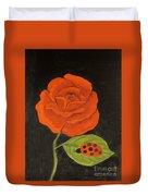 Red Rose, Oil Painting Duvet Cover