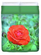 Red Rose On Natural Background With Green Leaves. Duvet Cover