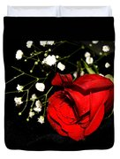 Red Rose With Baby Breath Duvet Cover