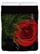 Red Rose With Garnish And Black Velvet Duvet Cover