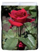 Red Rose With Stem Duvet Cover