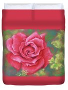 Red Rose With Yellow Lady's Mantle Duvet Cover