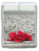 Red Roses Beachside Duvet Cover