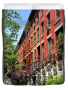 Red Row Houses Duvet Cover