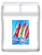 Red Sails On Blue  Duvet Cover
