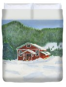Red School House Duvet Cover