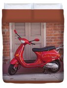 Red Scooter Duvet Cover