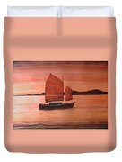 Red Sea With Chinese Boat Duvet Cover