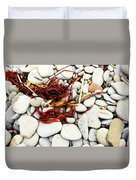 Red Seaweed On Stones Duvet Cover